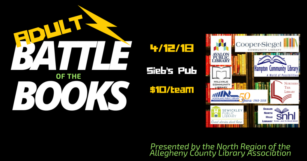 Battle of the Books for Adults is 4/12/18